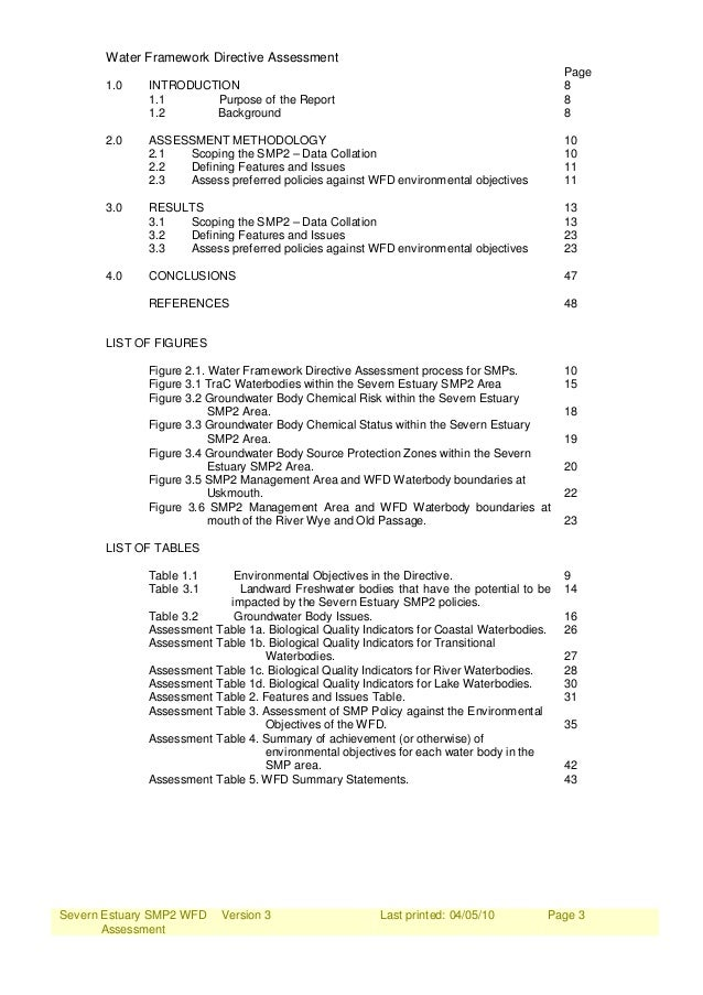 Severn Estuary SMP2 WFD Assessment Version 3 Last printed: 04/05/10 Page 3 Water Framework Directive Assessment Page 1.0 I...
