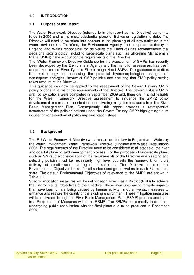 Severn Estuary SMP2 WFD Assessment Version 3 Last printed: 04/05/10 Page 8 1.0 INTRODUCTION 1.1 Purpose of the Report The ...