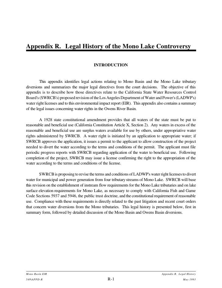 Appendix R. Legal History of the Mono Lake Controversy                                            INTRODUCTION            ...