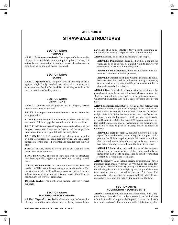 APPENDIX R                                       STRAW-BALE STRUCTURES                      SECTION AR101                 ...