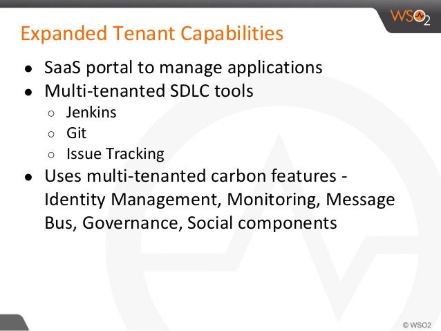 Expanded Tenant Capabilities ● SaaS portal to manage applications ● Multi-tenanted SDLC tools ○ Jenkins ○ Git ○ Issue Trac...