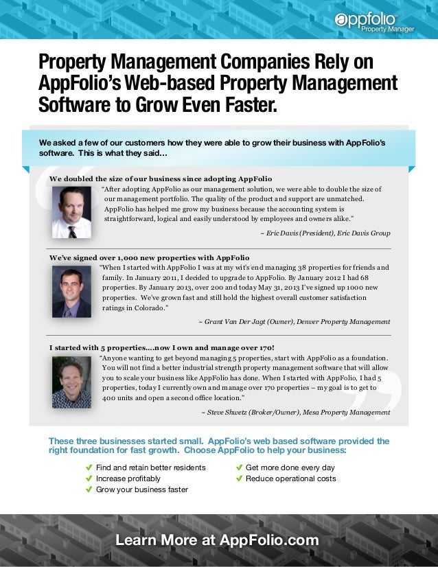 Property Management Companies Rely on AppFolio's Web-based Property Management Software to Grow Even Faster. We asked a fe...