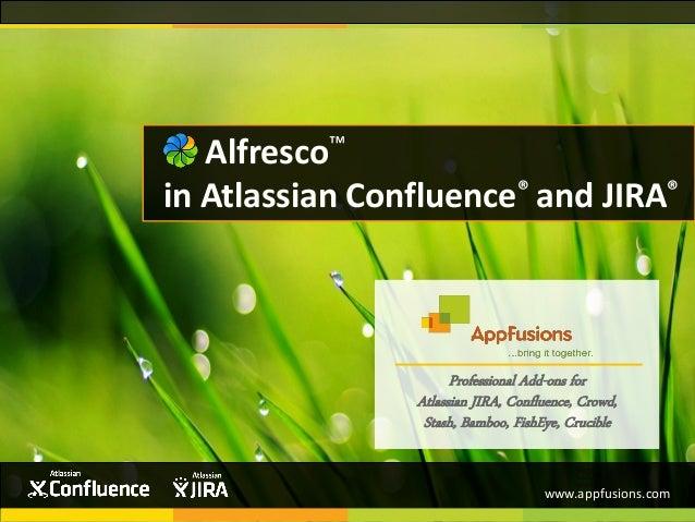 Professional Add-ons for Atlassian JIRA, Confluence, Crowd, Stash, Bamboo, FishEye, Crucible Alfresco™ in Atlassian Conflu...