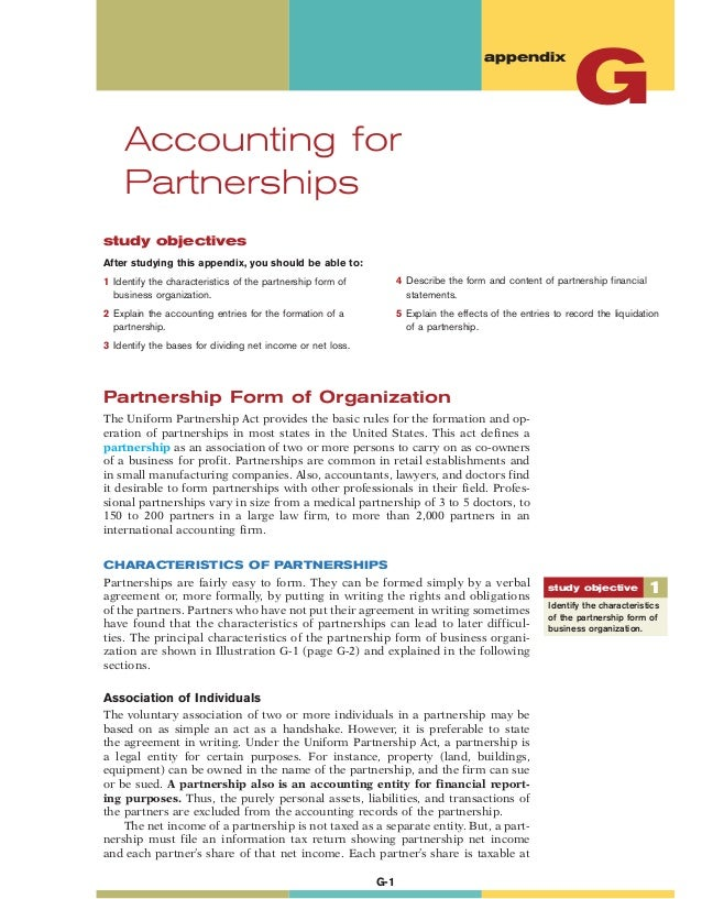 study objectives After studying this appendix, you should be able to: 1 Identify the characteristics of the partnership fo...
