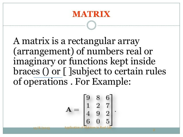 application of matrices in real life pdf