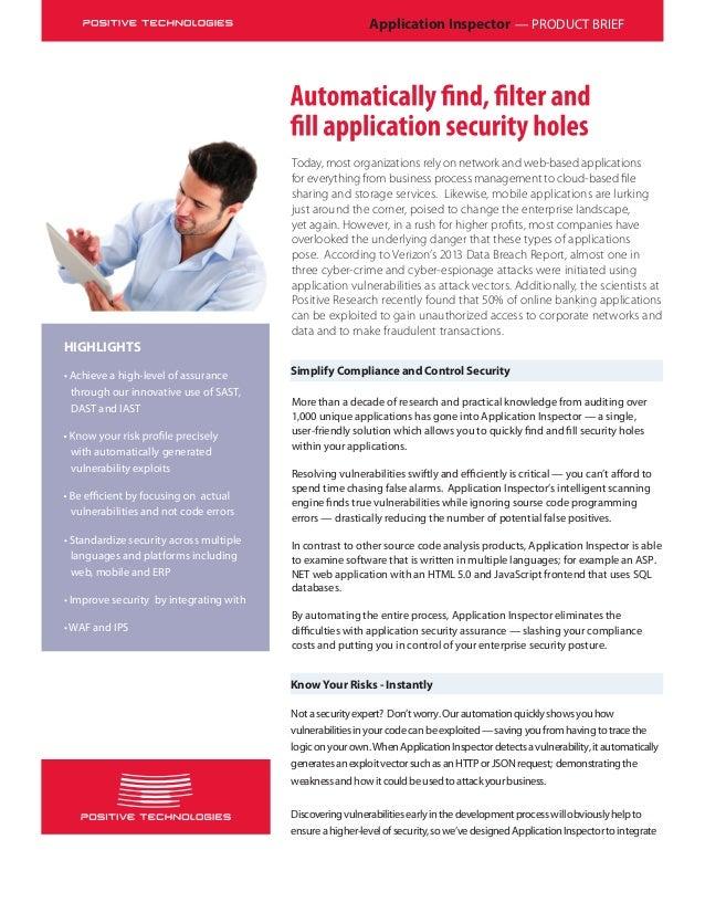 Application Inspector — PRODUCT BRIEF Simplify Compliance and Control Security HIGHLIGHTS • Achieve a high-level of assura...