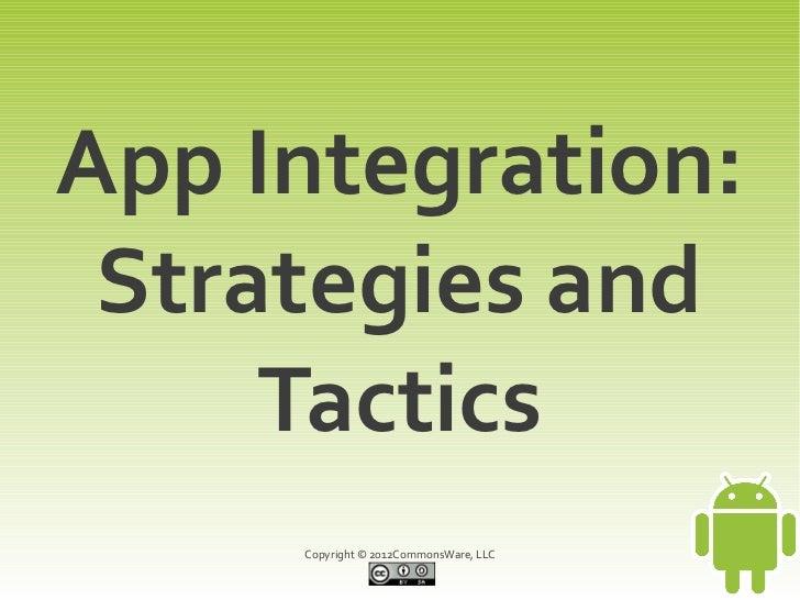 App Integration: Strategies and     Tactics     Copyright © 2012CommonsWare, LLC