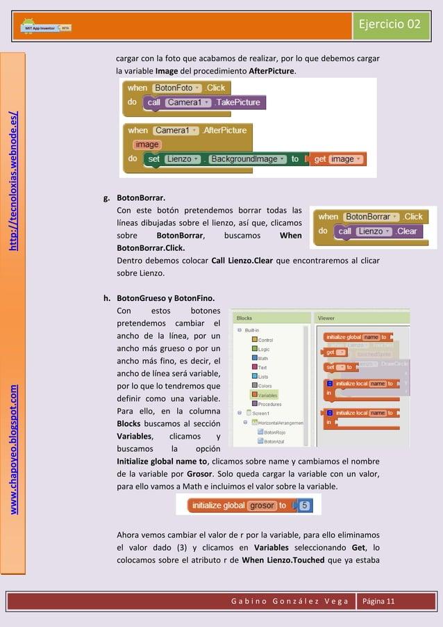 Ejercicio 02  www.chapoyeo.blogspot.com  http://tecnoloxias.webnode.es/  cargar con la foto que acabamos de realizar, por ...