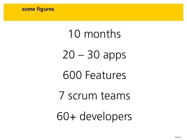 Seite 3 10 months 20 – 30 apps 600 Features 7 scrum teams 60+ developers some figures