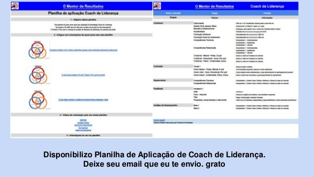 Disponibilizo Planilha de Aplicação de Coach de Liderança. Deixe seu email que eu te envio. grato