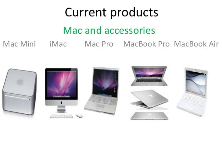 Current products              Mac and accessoriesMac Mini   iMac   Mac Pro   MacBook Pro MacBook Air
