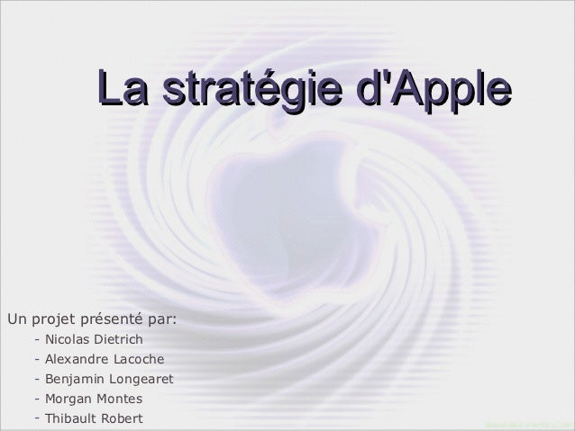 La stratégie dAppleUn projet présenté par:   - Nicolas Dietrich   - Alexandre Lacoche   - Benjamin Longearet   - Morgan Mo...