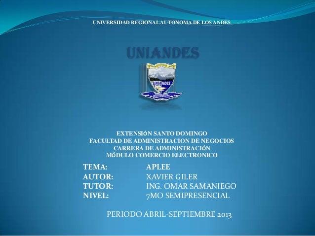 UNIVERSIDAD REGIONALAUTONOMA DE LOS ANDES UNIANDES EXTENSIÓN SANTO DOMINGO FACULTAD DE ADMINISTRACION DE NEGOCIOS CARRERA ...
