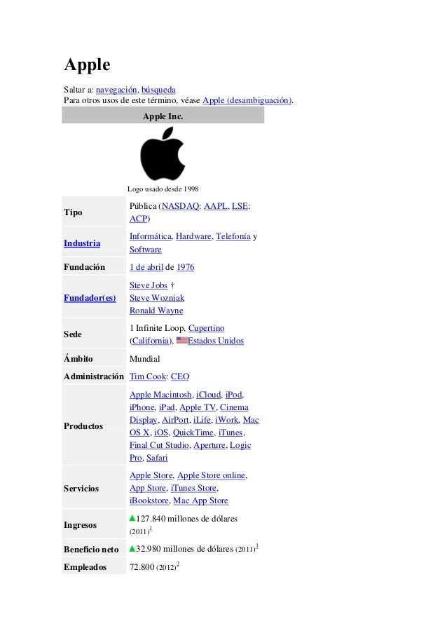 Apple Saltar a: navegación, búsqueda Para otros usos de este término, véase Apple (desambiguación). Apple Inc.  Logo usado...