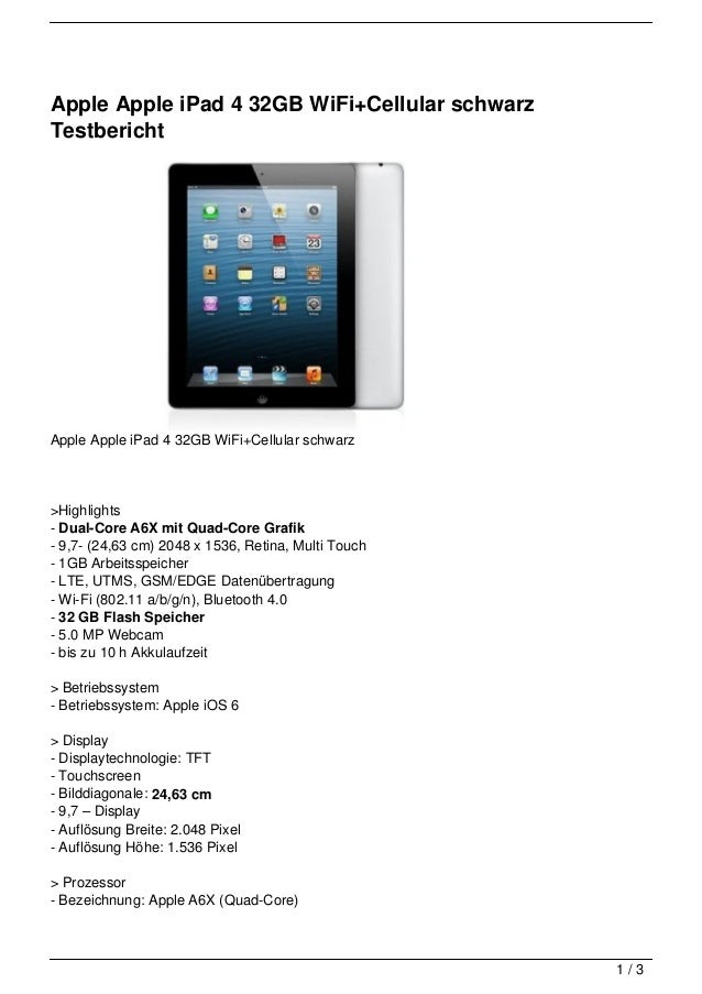 Apple Apple iPad 4 32GB WiFi+Cellular schwarzTestberichtApple Apple iPad 4 32GB WiFi+Cellular schwarz>Highlights- Dual-Cor...
