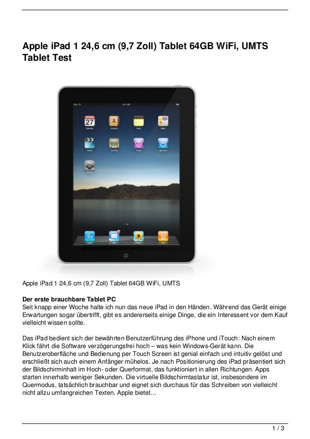 Apple iPad 1 24,6 cm (9,7 Zoll) Tablet 64GB WiFi, UMTSTablet TestApple iPad 1 24,6 cm (9,7 Zoll) Tablet 64GB WiFi, UMTSDer...