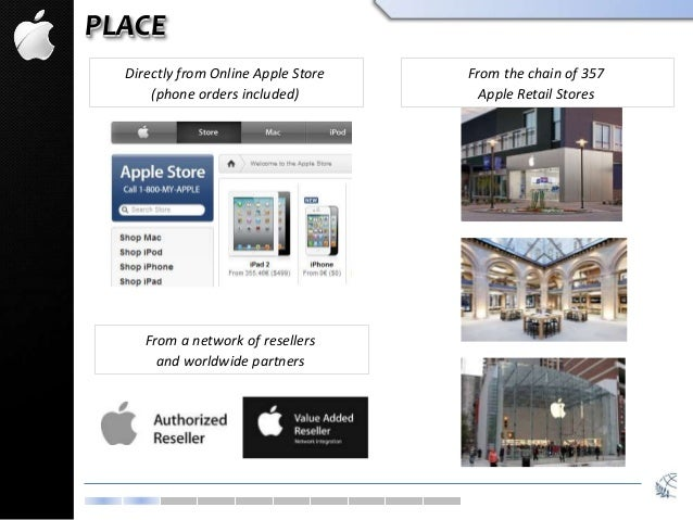 PLACE Directly from Online Apple Store (phone orders included) From the chain of 357 Apple Retail Stores From a network of...