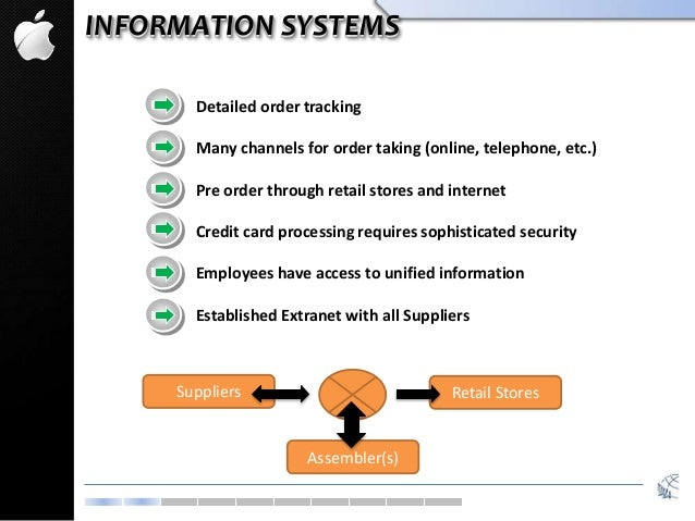INFORMATION SYSTEMS Detailed order tracking Many channels for order taking (online, telephone, etc.) Pre order through ret...