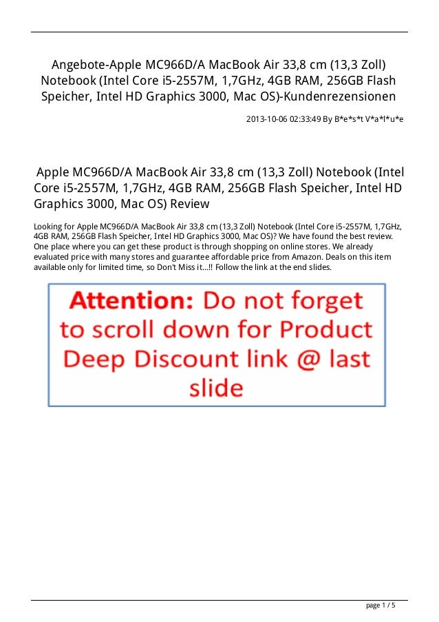 Angebote-Apple MC966D/A MacBook Air 33,8 cm (13,3 Zoll) Notebook (Intel Core i5-2557M, 1,7GHz, 4GB RAM, 256GB Flash Speich...