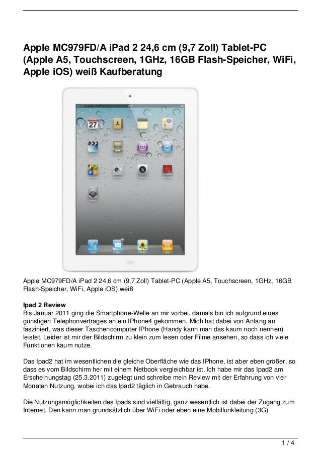 Apple MC979FD/A iPad 2 24,6 cm (9,7 Zoll) Tablet-PC(Apple A5, Touchscreen, 1GHz, 16GB Flash-Speicher, WiFi,Apple iOS) weiß...
