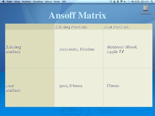 apple ansoff matrix The most common form of evaluating the corporate portfolios is the portfolio  matrix models igor ansoff, developed his product-market growth.