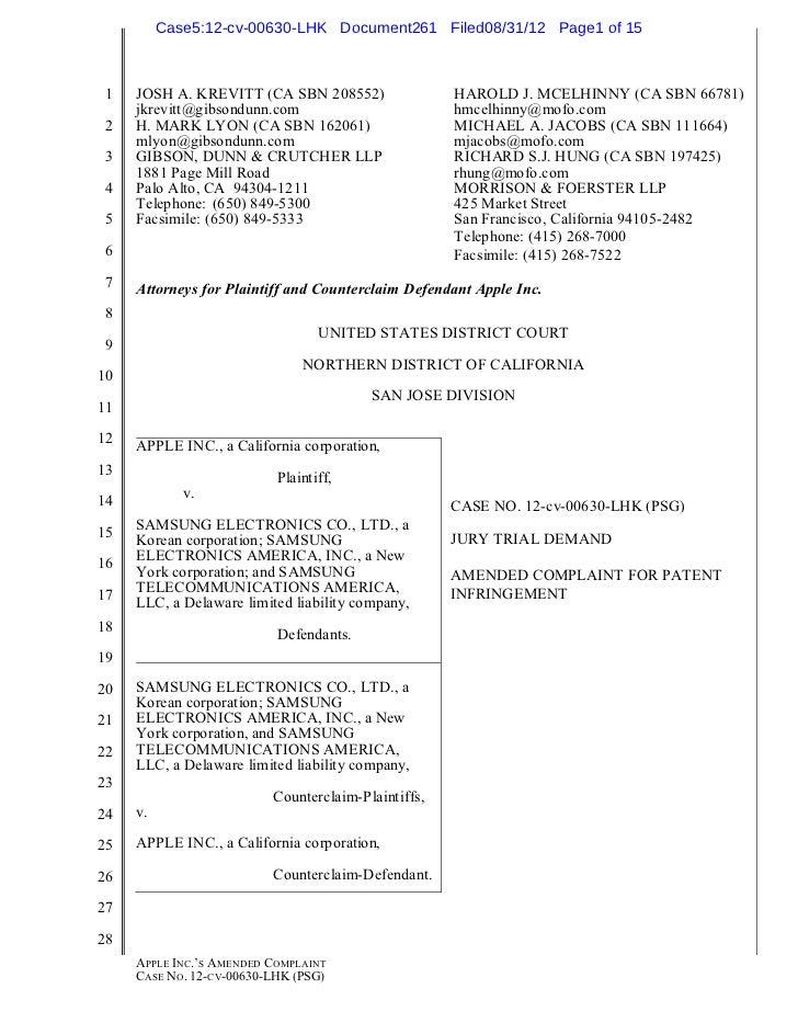 Case5:12-cv-00630-LHK Document261 Filed08/31/12 Page1 of 15 1   JOSH A. KREVITT (CA SBN 208552)                 HAROLD J. ...