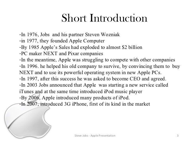 Apple steve jobs jobs apple presentation following steps 3 short introduction steve toneelgroepblik Gallery