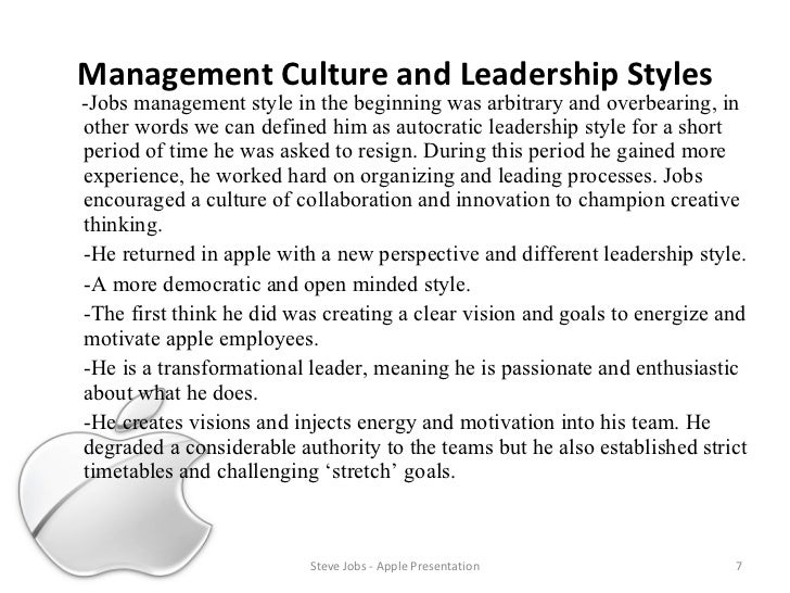 """steve jobs and cultural leadership It is well-known that steve jobs could be arrogant, dictatorial, and mean-spirited yet he was a great leader so does this invalidate the claims of some management writers and thought leaders today that effective business leaders today need to be nice, kind, humble (level 5 leadership), and practice """"servant leadership""""."""