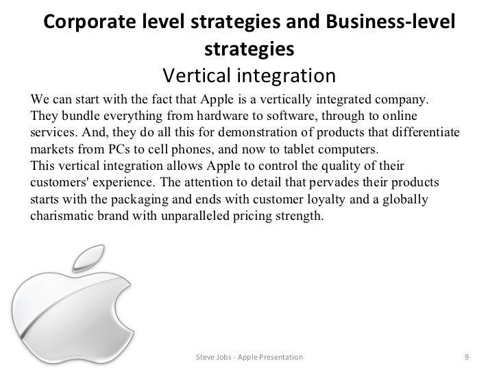 apple computers corporate level and business level strategies For my final undergraduate business paper, i wrote an analysis of apple as it  apple's macintosh computers sync  apple can guarantee a level of quality.