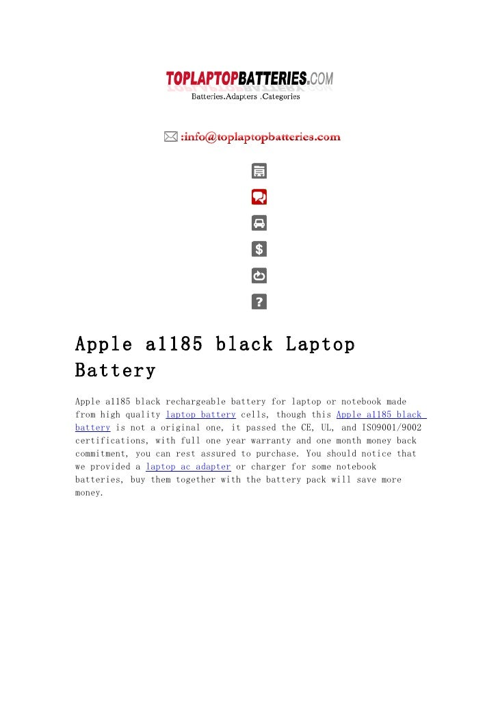 Apple a1185 black Laptop Battery Apple a1185 black rechargeable battery for laptop or notebook made from high quality lapt...