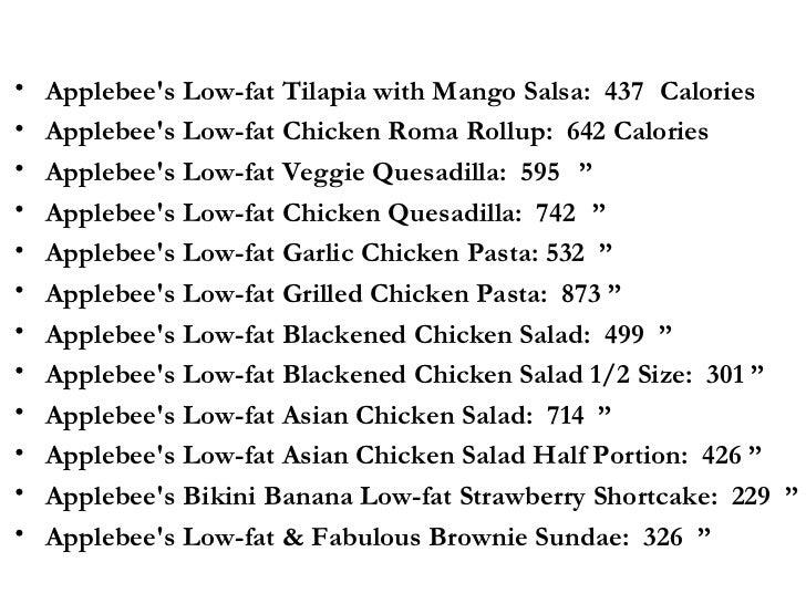 Applebees Menu Calories