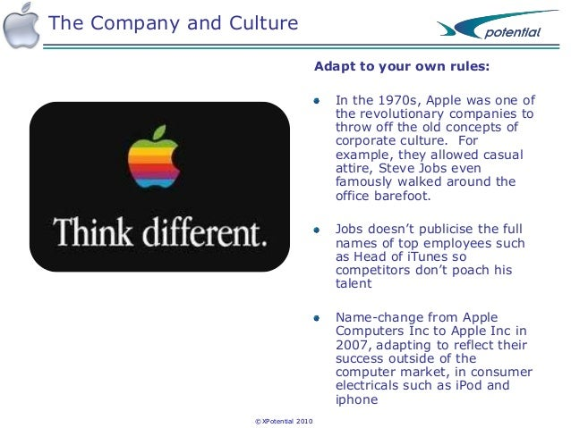 """the company culture of apple inc For more on apple, watch this fortune  apple's ruthless corporate culture is just one piece of a mystery that  """"apple is a company that doesn't have."""