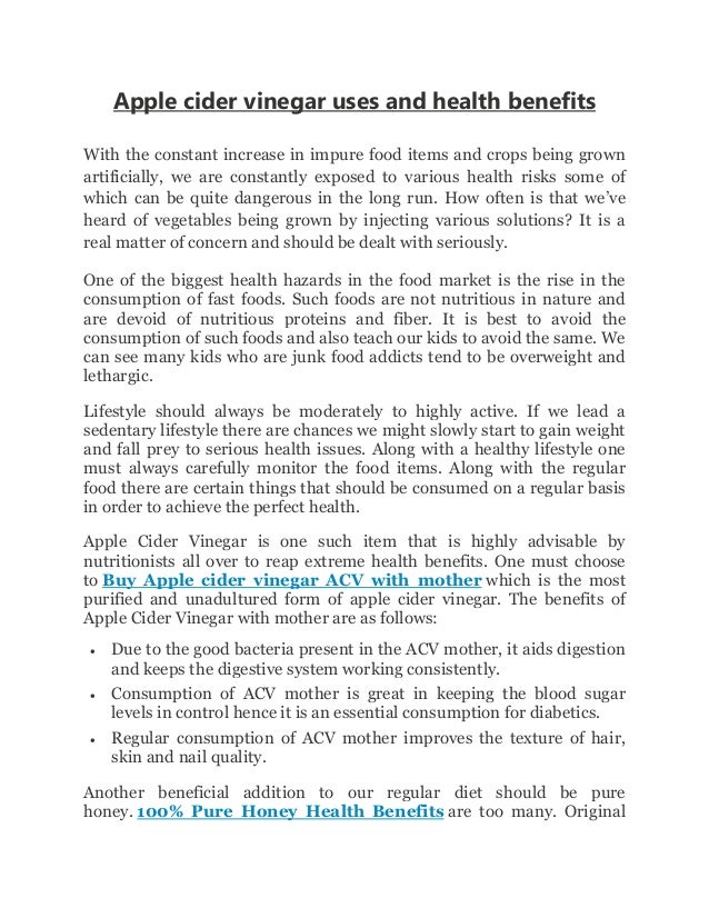 Apple cider vinegar uses and health benefits With the constant increase in  impure food items and ...