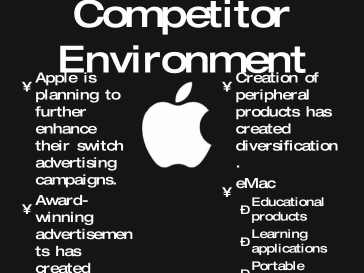 apple inc gaining a competitive advanatage R&d spending strongly correlates with a company's revenue growth and expansion into new product markets therefore, apple should invest much more into its r&d activities than its competitors do in order to gain a competitive advantage 4 incompatibility with other os apple's proprietary operating.