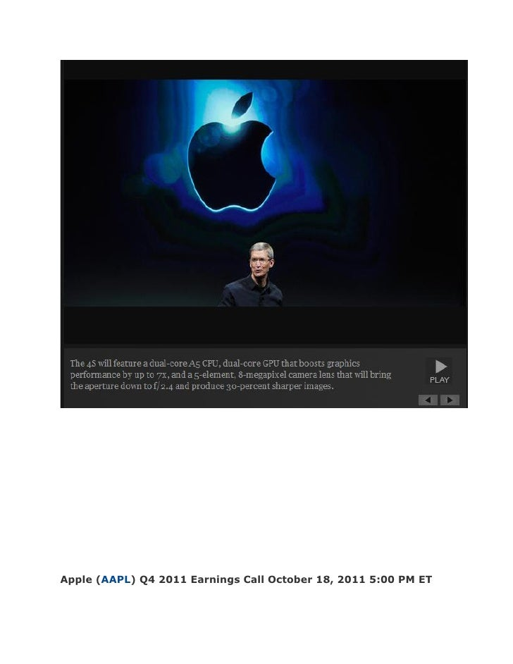 Apple (AAPL) Q4 2011 Earnings Call October 18, 2011 5:00 PM ET