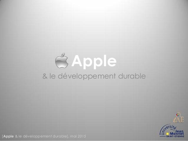 Apple & le développement durable [Apple & le développement durable], mai 2015