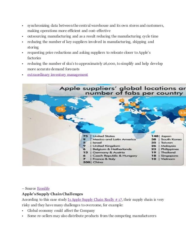 supply chain process for apple Free essay: apple's supply chain management – an overview many  and  storage of raw materials, work-in-processshow more content.