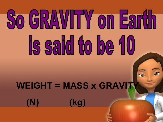 The astronaut has a mass of 80kg  but when will he weigh more?  on the Moon on the Earth  Gravity = 1.5 Gravity = 10  Weig...