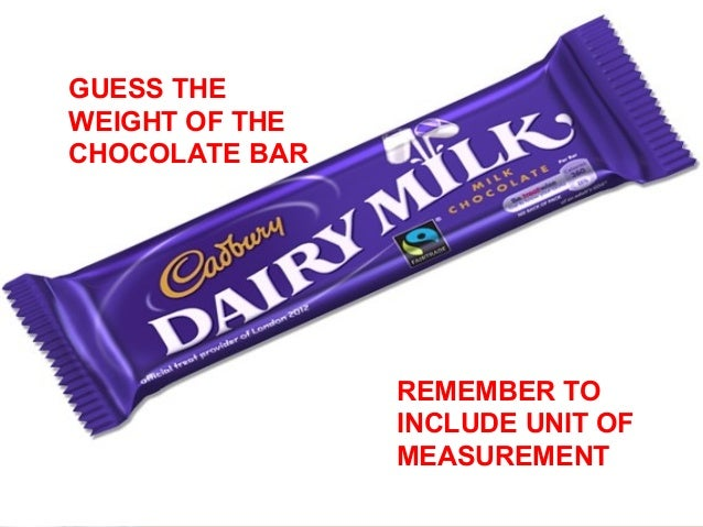 GUESS THE  WEIGHT OF THE  CHOCOLATE BAR  REMEMBER TO  INCLUDE UNIT OF  MEASUREMENT