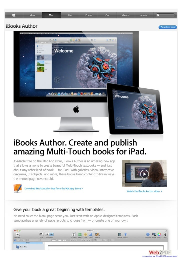 Available free on the Mac App store, iBooks Author is an amazing new appthat allows anyone to create beautiful Multi-Touch...