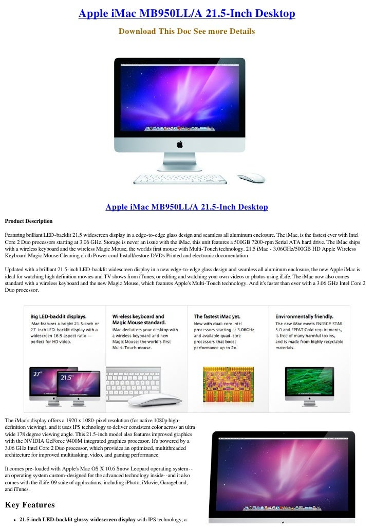 Apple iMac MB950LL/A 21.5-Inch Desktop                                                       Download This Doc See more De...