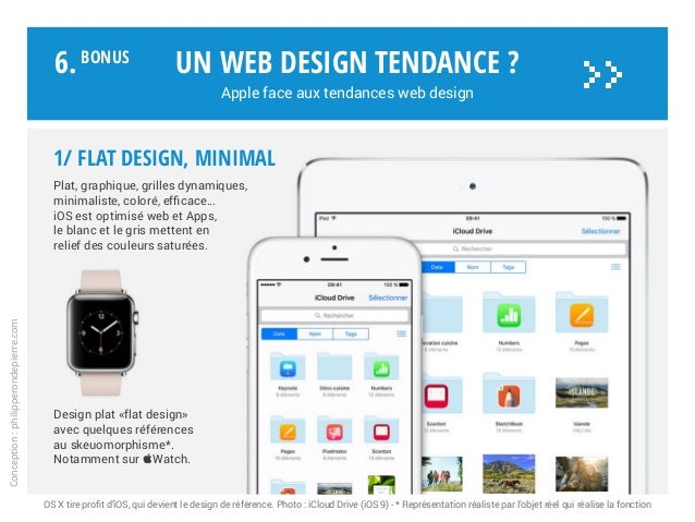 1/ FLAT DESIGN, minimal Plat, graphique, grilles dynamiques, minimaliste, coloré, efficace… iOS est optimisé web et Apps, ...