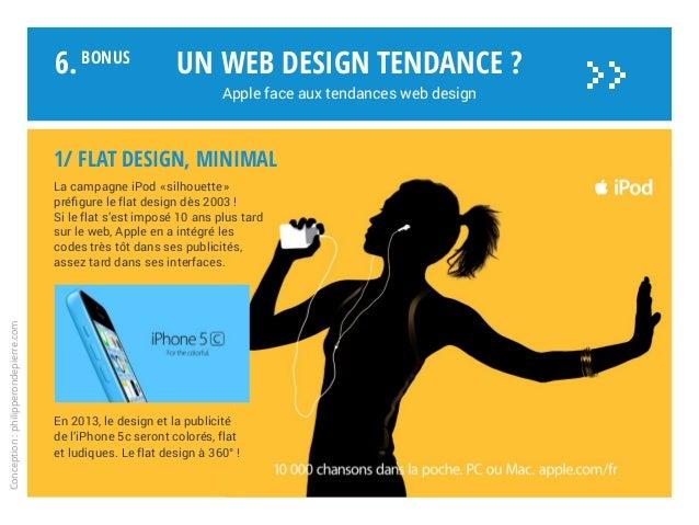 1/ FLAT DESIGN, minimal La campagne iPod «silhouette» préfigure le flat design dès 2003 ! Si le flat s'est imposé 10 ans...
