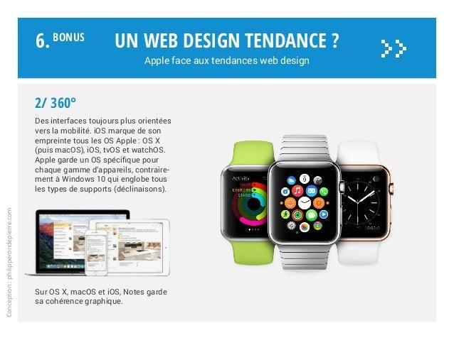 Un web design tendance ? Apple face aux tendances web design Conception:philipperondepierre.com 2/ 360° Des interfaces tou...