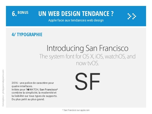 4/ Typographie 2016 : une police de caractère pour quatre interfaces. Initiée pour l'WATCH, San Francisco* combine la sim...
