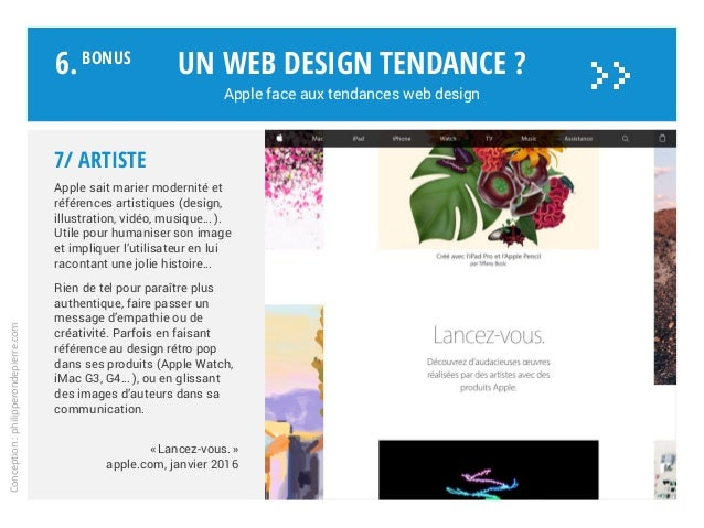 Un web design tendance ? Apple face aux tendances web design Conception:philipperondepierre.com 6.BoNUS >> 7/ Artiste Appl...