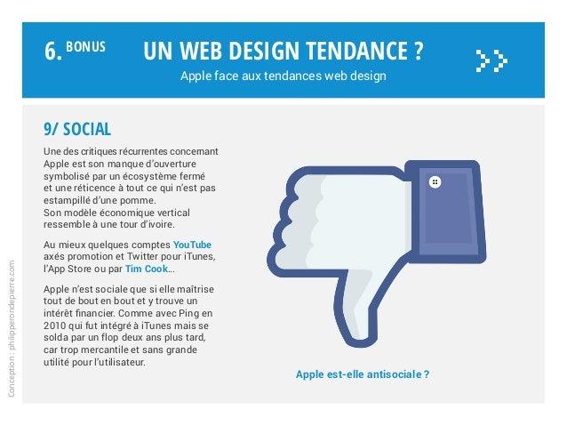 Apple est-elle antisociale ? Un web design tendance ? Apple face aux tendances web design Conception:philipperondepierre.c...
