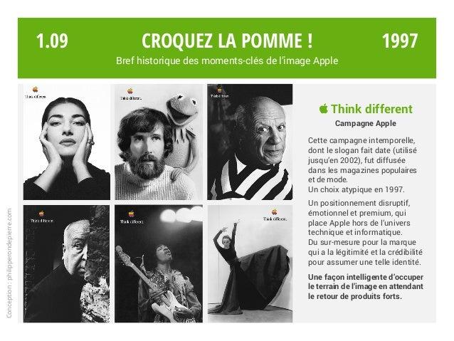  Think different Campagne Apple Cette campagne intemporelle, dont le slogan fait date (utilisé jusqu'en 2002), fut diffus...