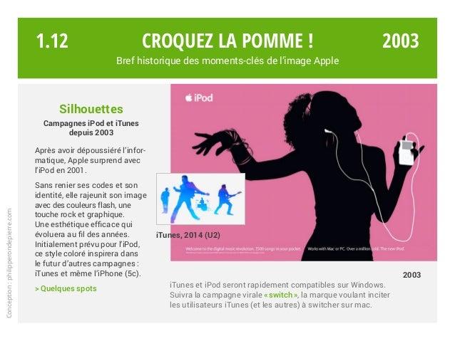 Silhouettes Campagnes iPod et iTunes depuis 2003 Après avoir dépoussiéré l'infor- matique, Apple surprend avec l'iPod en 2...