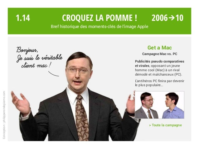 Get a Mac Campagne Mac vs. PC Publicités pseudo comparatives et virales, opposant un jeune homme cool (Mac) à un rival dém...